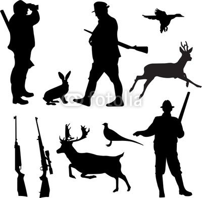 hunting silhouettes | Vector: hunting collection silhouettes - vector