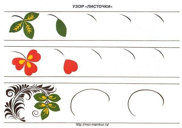 Листочки на тренировочной карте для росписи ногтей