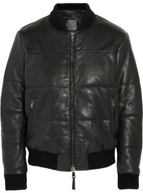 $1,205, Black Leather Bomber Jacket: Lot 78 Lot78 Padded Nappa Leather Bomber Jacket. Sold by NET-A-PORTER.COM. Click for more info: https://lookastic.com/women/shop_items/89145/redirect