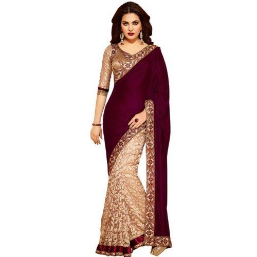 520_Exlusive Magenta/cream  Designer Saree with Brasoo Pallu Saree