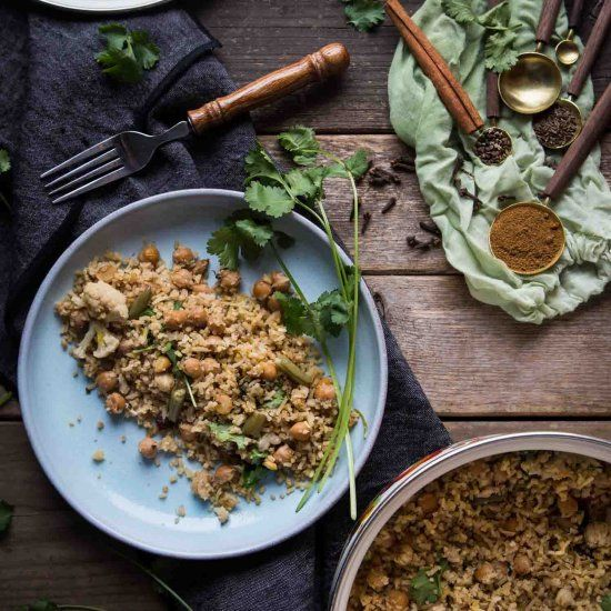 Garbanzo Veggie Biryani. This meatless one-pot rice dish is infused with aromatic spices, garbanzo beans, and fresh vegetables.