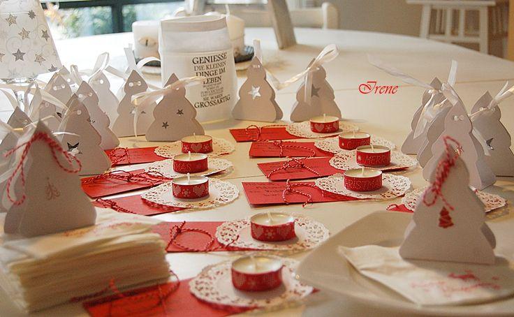 Weihnachtlich gebastelte Tischdekoration