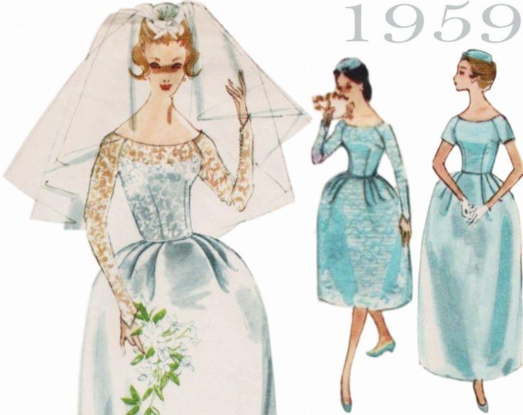 "1950s Wedding Dress McCALLS 5207 bust 36"" Vintage Wedding Gown Bell Skirt Long Sleeve Wedding Dress Retro Bridesmaid Rockabilly Wedding by ThePerfectPattern on Etsy https://www.etsy.com/listing/472312772/1950s-wedding-dress-mccalls-5207-bust-36"
