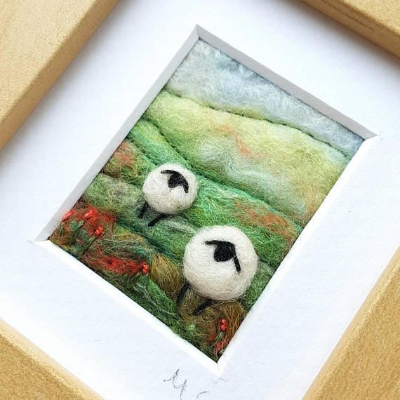 Tilly Tea Dance textile artist miniature sheep landscape in felting and embroidery  https://www.etsy.com/uk/listing/514871414/sheep-on-a-rolling-hillside-miniature