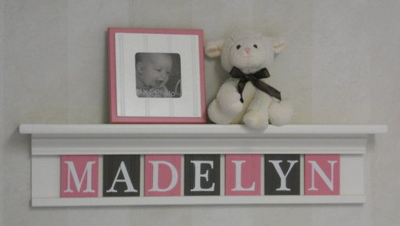 "Pink Brown Nursery Art Wall Decor Personalized Kids Name Signs 30"" Linen (Off White) Shelf With 7 Wood Letters Pink Baby Nursery - MADELYN"