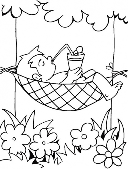 A nice way to beat the heat in dark shade of tree with cold drinks coloring page