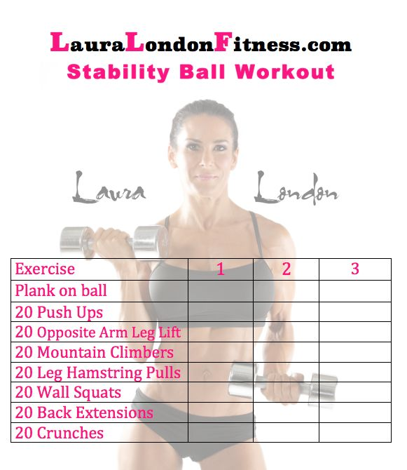 Stability Ball Workout Routine: 29 Best Printable Circuit Workouts With Laura London