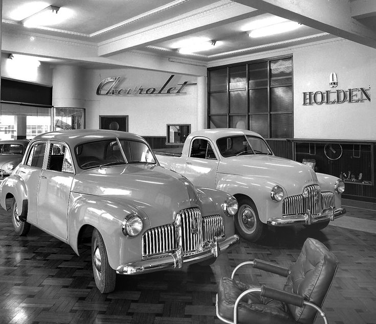 Hillsdons Holden and Chevrolet Service Centre, at Parramatta, NSW shows Holden cars and sign, ca. 1951. Max Dupain photo.  v@e.