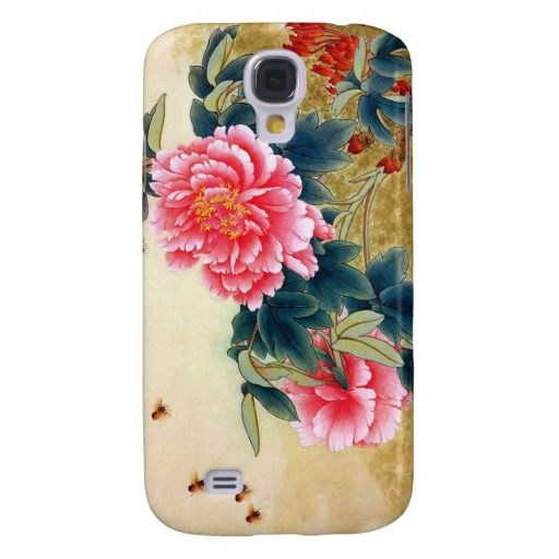 Cool chinese classic watercolor pink flower bee galaxy s4 case