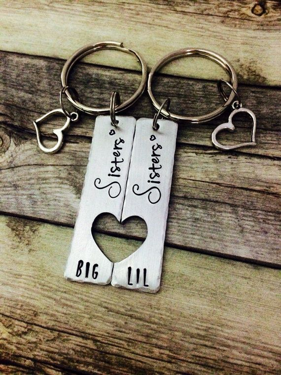 gifts for sisters big sis little sis matching by MommysMetalz