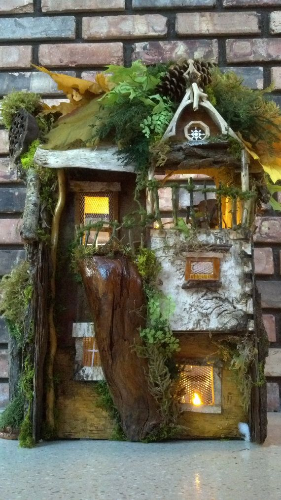 Fairy house hollow stump from 100 year old tree by for Hollow tree trunk ideas
