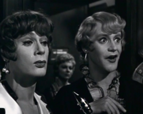 "Tony Curtis & Jack Lemon in drag for ""Some Like it Hot"""