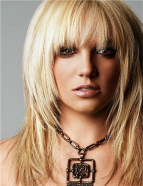 Long Layered Blond Hairstyle With Bangs