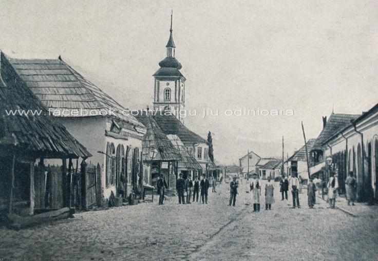 Targu Jiu - Str Baroi (astazi Victoriei ) si biserica Sf. Imparati ( biserica de peste drum de magazinul Parang ) inainte de 1877