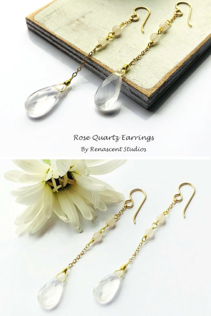 These gorgeous rose quartz earrings are stunning! They are long, feminine, light and comfortable. They would make a great gift...Valentine's day maybe, hint, hint  Check them out at- www.renascentstudios.etsy.com