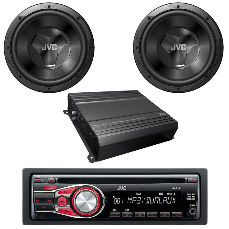 JVC KD-R330 In-Dash CD-R/MP3/WMA Receiver Detachable Face Dual Aux Inputs 2 x CS-W120 1000W 12-Inch 4 ohm Car Subwoofer W/ JVC KS-AX201 Mono Class-AB Car Audio Amplifier - JVC Car Audio Stereo Package