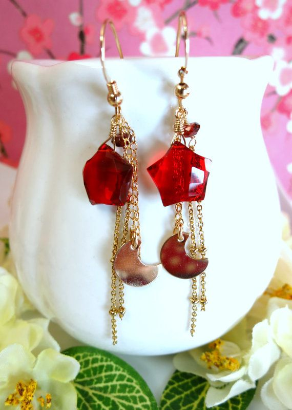 Red quartz star moon gold filled tassle earrings by KBlossoms