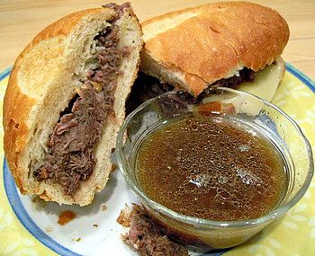 Crock pot french dip sandwich. This sounds good, minus the wine. Beef