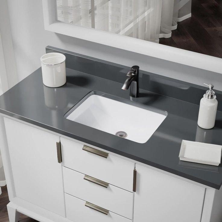 René By Elkay R2-1002-W White Rectangular Bathroom Sink with Standard Pop-Up Drain