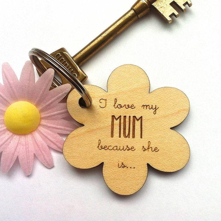 Personalised 'I Love My Mum Because' Keyring from notonthehighstreet.com