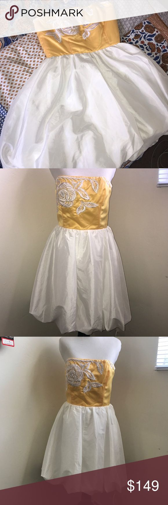 Betsey Johnson Yellow and White Party Dress Super chic and fresh Betsey Johnson formal dress. Buttercup yellow bodice and pearlized white balloon effect skirt. Fantastic embroidered floral detail on bodice with beading. Hits above the knee. Perfect for parties, weddings, proms, and any spring or summer event! Worn once but no longer fits me so it's time to let it go. Zipper works perfectly, but you could add the eyelet part of the hook/eye clasp for extra support. Otherwise, very good…