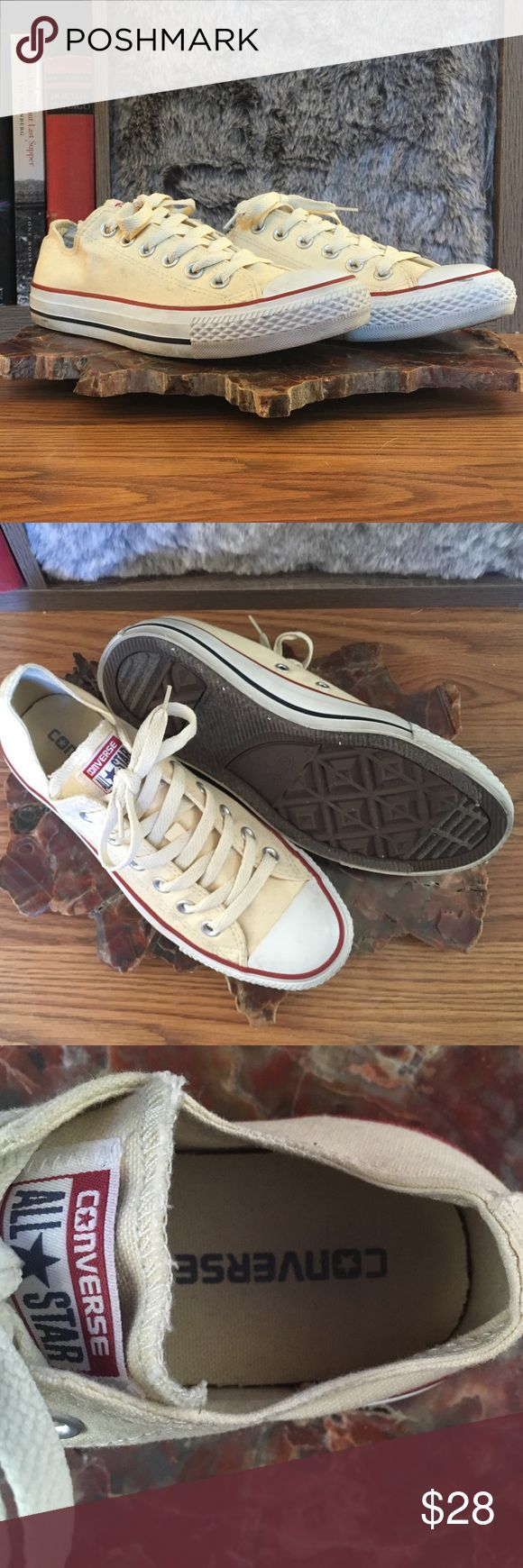 Off-White Low Top Converse Worn twice, these classic babes have a couple smudges on the rubber and a little dirt on the canvas, but a little character never hurt Chucks! Men's size 5/Women's size 7. Converse Shoes Sneakers