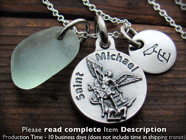St Michael Custom, Personalized Necklace, US Navy,  Engraved. Soldier Gift. Policeman Gift. Saint Michael Necklace. St. Michael. Archangel. by BaptismGift on Etsy https://www.etsy.com/listing/105593136/st-michael-custom-personalized-necklace