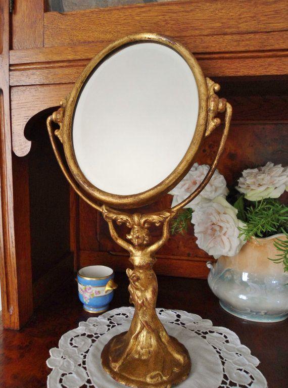 Antico Specchio da toilette da trucco in di VintageTranslate