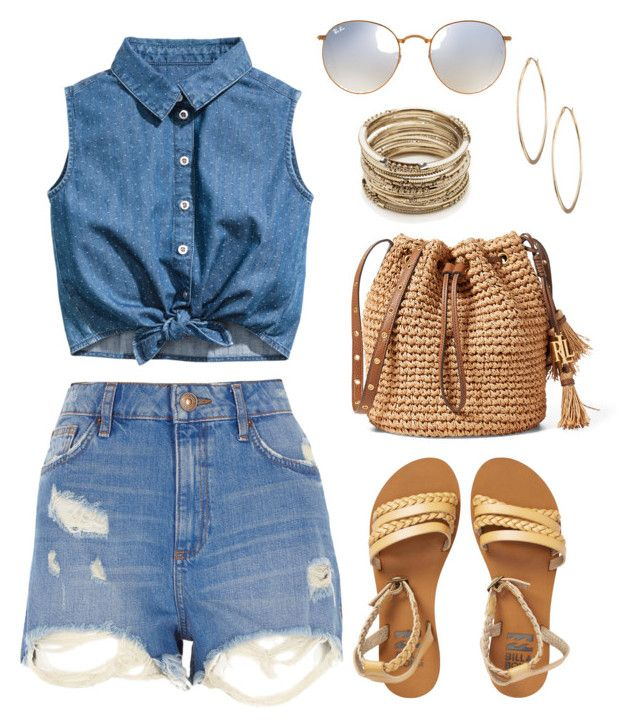 """""""Denim & gold."""" by kaylah-kimiora on Polyvore featuring River Island, Billabong, Ray-Ban, Lydell NYC and Sole Society"""