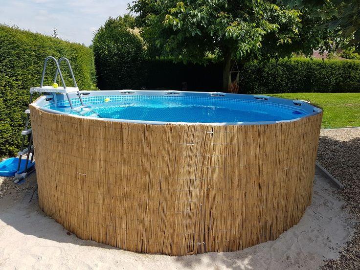 Vestir a piscina de quadros com tapetes de bambu é fácil e rápido e parece …   – frame pool