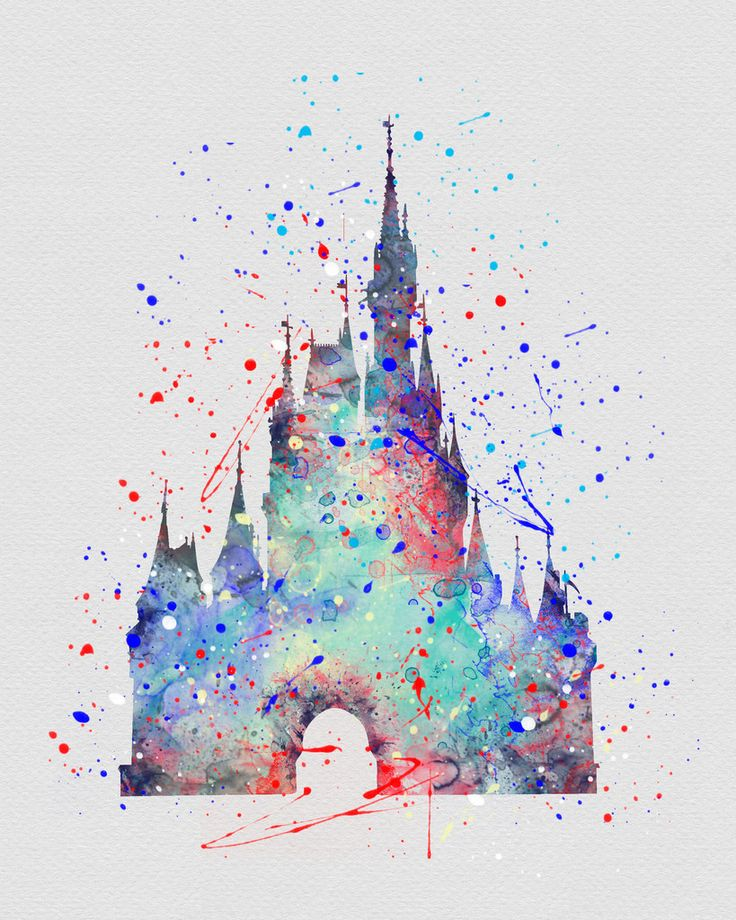 Cinderella Castle Watercolor Art