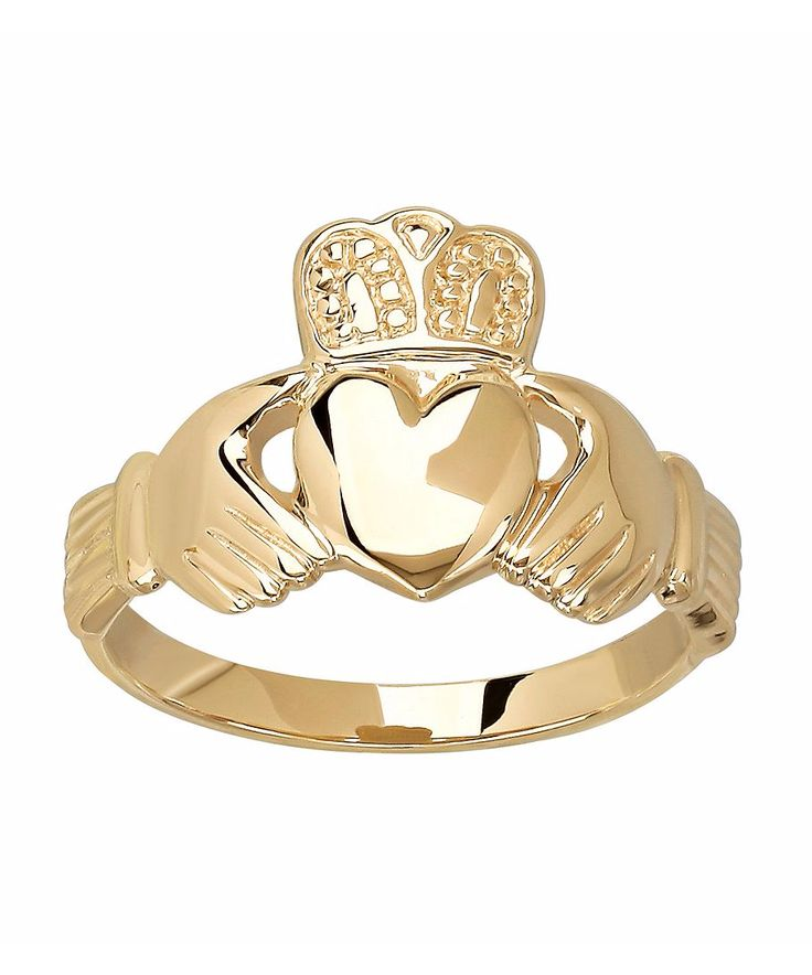 This Claddagh is a traditional Irish ring representing love, loyalty, and friendship. Find this  Gold Claddagh Ring by #BonTon #MIGM #MayIsGoldMonth #Gold #Rings