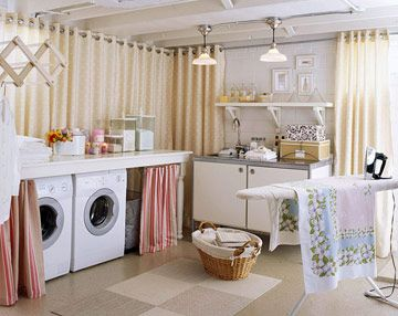 Use a sprayer to paint the exposed ductwork, pipes, and cables white to match white-painted concrete-block walls. Painting the unfinished ceiling white brightens the basement and is a particularly good choice for a laundry room, where the focus is on cleanliness. Painting is also the least expensive option for basements with ceilings too low to accommodate a drop ceiling.
