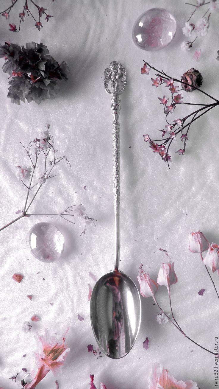 Купить Ложка чайная серебряная Ангел Хранитель. - серебро, серебряные ложки, столовые приборы