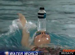 Missy Franklin balancing a water bottle on her head while swimming to practice head stability during her backstroke - impressive! Click to watch the video.