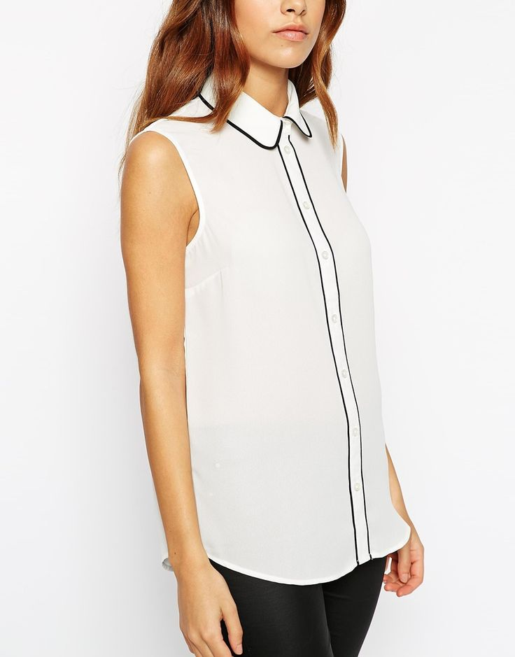 Image 3 of ASOS TALL Sleeveless Blouse with Contrast Piping