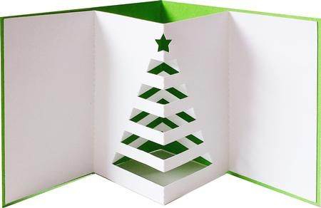 handmade Christmas tree pop-up card.. no instructions here but the pic is self explaining  ... looks like a modified tunnel card ...