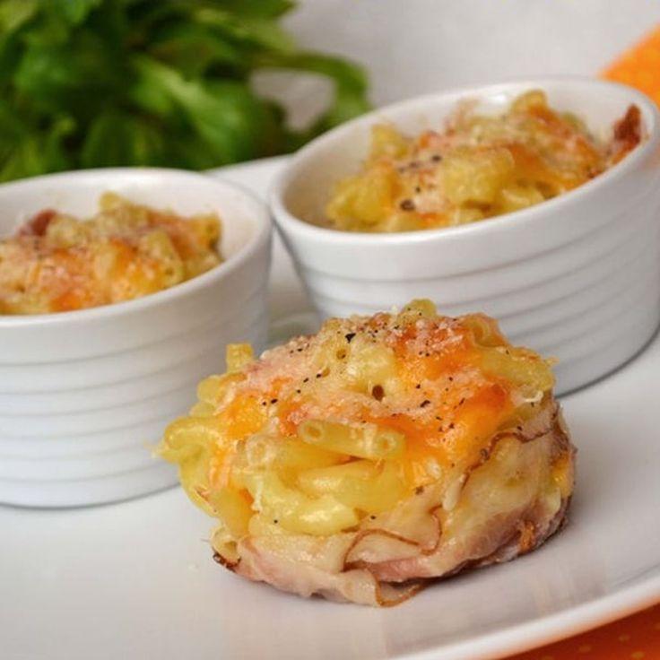 Mini-gratins de pâtes au lard et aux 3 fromages