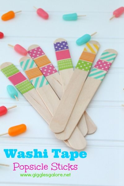 Washi Tape Popsicle Sticks--**and are those tiny popsicles scattered in the background made from mike 'n ike's and toothpicks??!!  cuuute!!