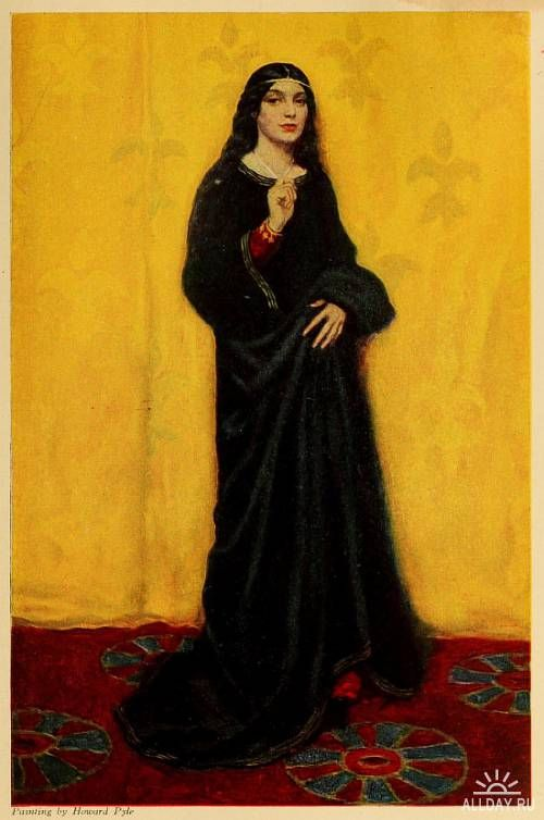 Howard Pyle - A black clad girl in front of a yellow wallpaper. Rich in associations.