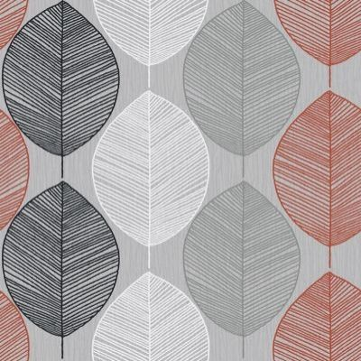 Retro Leaf Silver/Orange (408203) - Arthouse Wallpapers - A retro leaf motif design drawn in fine lines on subtle paint wash effect background. Shown in silver,black and orange on pale grey. Please request sample for true colour match.