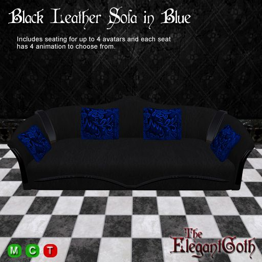 gothic furniture black leather sofacouch in blue