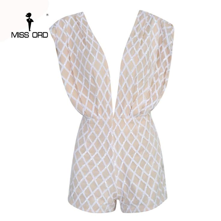 Sexy Deep-V front and back Sleeveless grid sequin playsuit