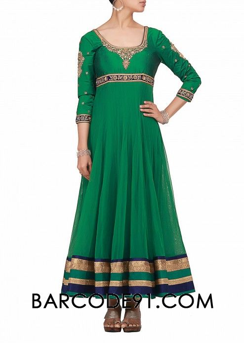 $327 Buy it now  http://www.barcode91.com/anarkali-in-green-net-fabric-with-lirex-and-velvet-border-at-the-hem-by-kalki.html Anarkali in green net fabric with lirex and velvet border at the hem  by Kalki