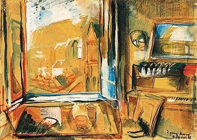 Egry József Kilátás a badacsonyi műteremből című festménye