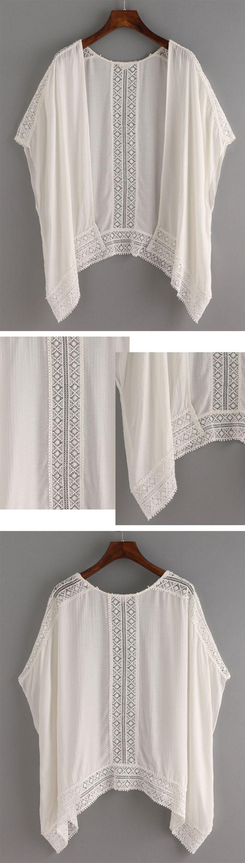 Lace Trimmed Kimono - White                                                                                                                                                     Más