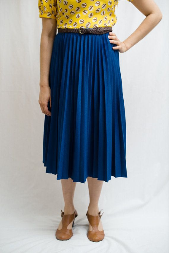 Blue Pleated Skirt - Dress Ala