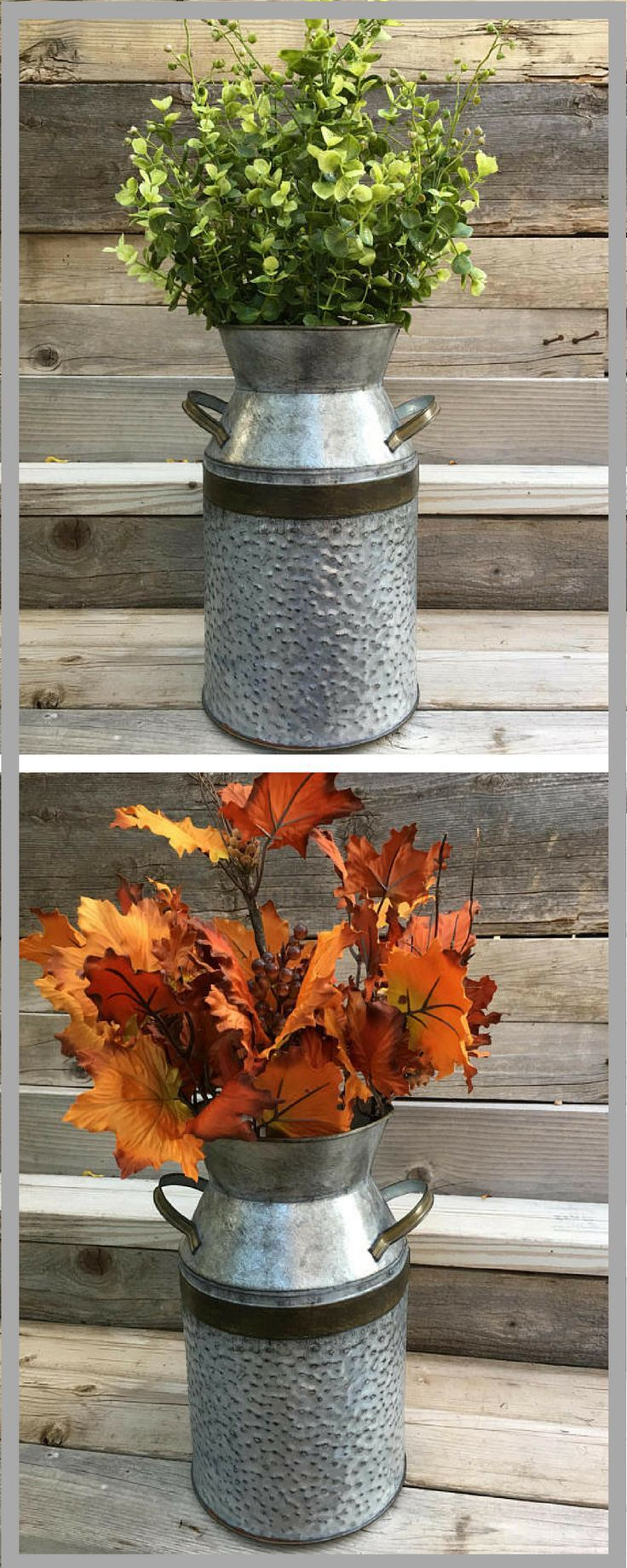 Adorable milk can decor - perfect for my front porch! Single Milk Can With Greenery or Fall Leaves, Farmhouse Floral Arrangement, Rusitc Milk Can with Greenery, Metal Farmhouse Decor, Home Decor #ad #afflink #milkcan #farmhouse