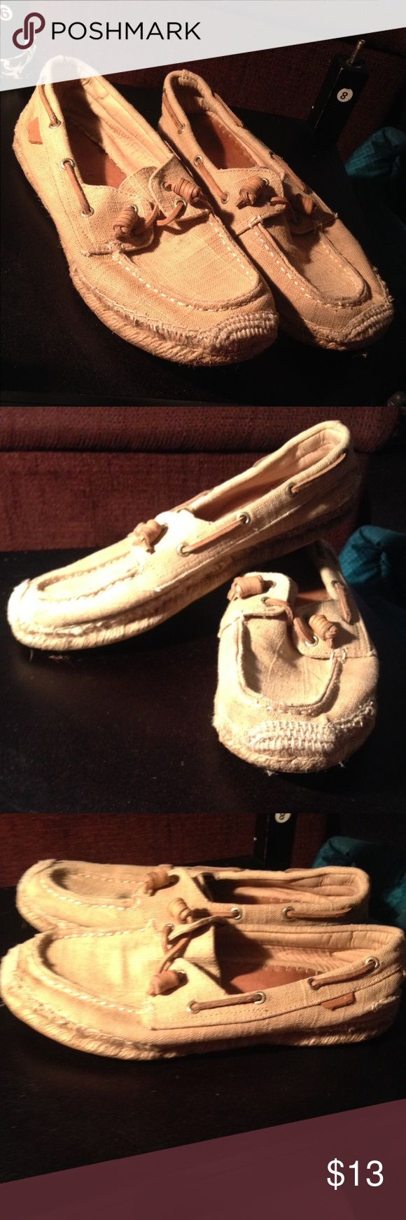 💐💐Sperry Shoes💐💐 Tan linen sperrys.  Clean, still lot of life left in the sole Sperry Shoes Espadrilles