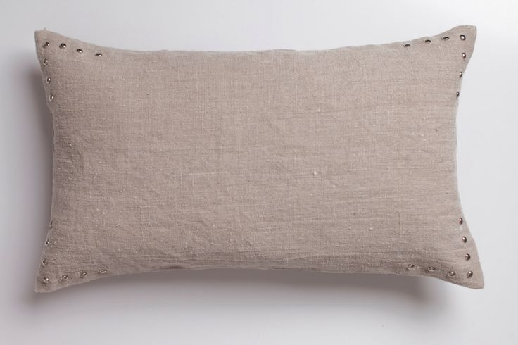 Natural linen pillow with studs / Studded pillow in linen / natural decorative pillow / decoration pillow / linen cushion /stonewashed linen by LUMODECO on Etsy https://www.etsy.com/listing/490564870/natural-linen-pillow-with-studs-studded